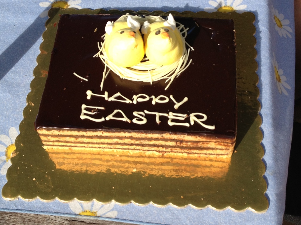 Happy Easter hazelnut and almond sponge cake