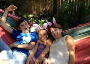 Easter bunnies in the hammock